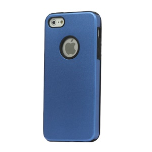 Premium Aluminium Metal + Silicone Case for iPhone 5 - Blue