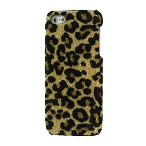 Flash Powder Leopard Leather Coated Hard Case Cover for iPhone 5 - Gold