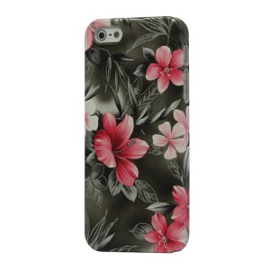 Flowers Leather Coated Hard Plastic Case Cover for iPhone 5 - Grey
