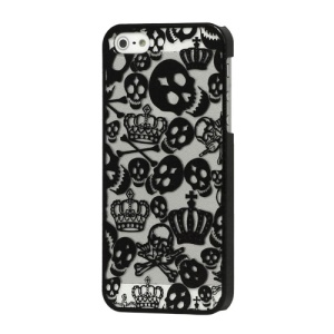 Skull Crown Electroplating Hard Plastic Case for iPhone 5 - Black