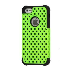 Checker Hollow out Plastic & Silicone Combo Protective Case for iPhone 5 - Black / Green