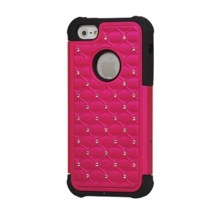 Diamond Studded Plastic and Silicone Hybrid Case Cover for iPhone 5 - Black / Rose