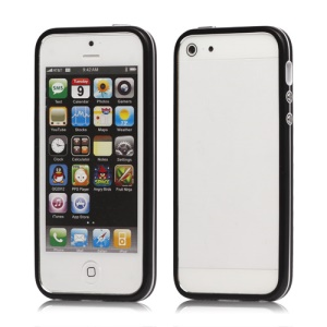 Snap-On Hybrid Bumper Frame Case for iPhone 5 - Black