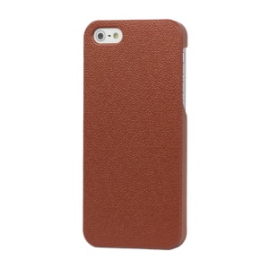 Slim Leather Coated Hard Case Cover Accessories for iPhone 5 - Brown