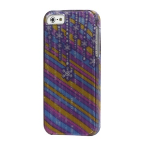 Snowflake Colorful Stripe Snap on Hard Case Cover for iPhone 5