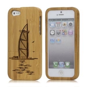 Detachable Burj Al Arab Tower Hotel Wood Case Cover for iPhone 5