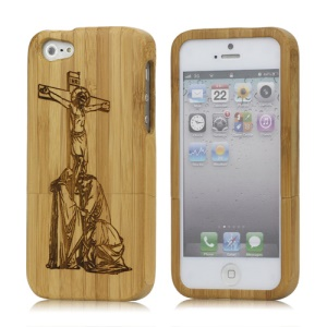 Jesus Detachable Real Wooden Protective Case Cover for iPhone 5