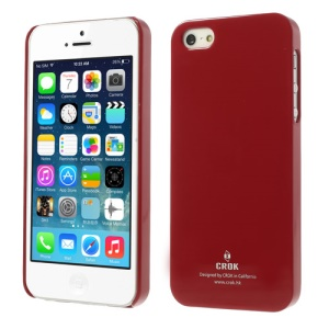 Crok Glossy Plastic Case Shell for iPhone 5 5s with Screen Protector - Red