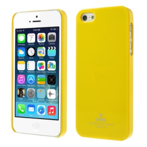 Crok Glossy Plastic Back Case for iPhone 5 5s with Screen Protector - Yellow