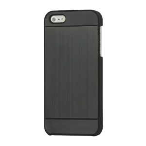 Deluxe Brushed Metal Hard Protective Case Cover for iPhone 5 - Black
