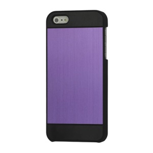 Deluxe Brushed Metal Hard Protective Case Cover for iPhone 5 - Black / Purple