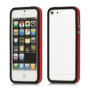 Plastic &amp; TPU Hybrid Bumper Frame Case for iPhone 5 - Red / Black