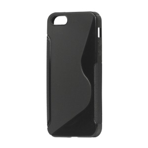 S Shape TPU Gel Case Cover for iPhone 5 - Black