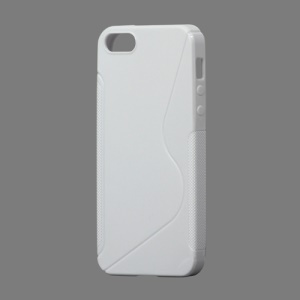 S Shape TPU Gel Case Cover for iPhone 5 - White