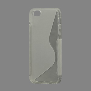 S Shape TPU Gel Case Cover for iPhone 5 - Transparent
