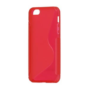 S Shape TPU Gel Case Cover for iPhone 5 - Red
