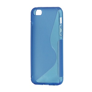 S Shape TPU Gel Case Cover for iPhone 5 - Blue