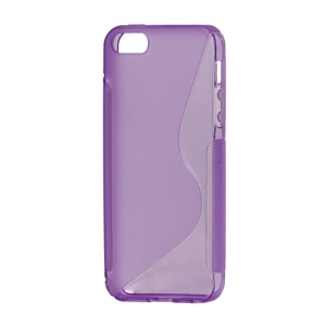 S Shape TPU Gel Case Cover for iPhone 5 - Purple