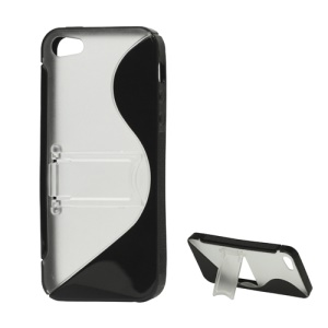 S-Curve TPU & Plastic Hybrid Case Cover with Stand for iPhone 5 - Black