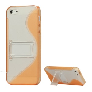 S-Curve TPU & Plastic Hybrid Case Cover with Stand for iPhone 5 - Orange