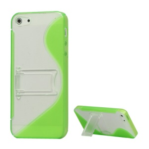 S-Curve TPU & Plastic Hybrid Case Cover with Stand for iPhone 5 - Green