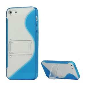 S-Curve TPU & Plastic Hybrid Case Cover with Stand for iPhone 5 - Dark Blue