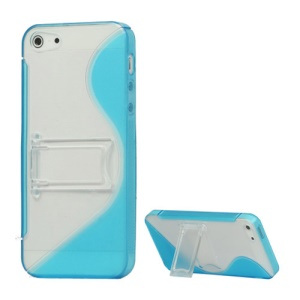 S-Curve TPU & Plastic Hybrid Case Cover with Stand for iPhone 5 - Baby Blue