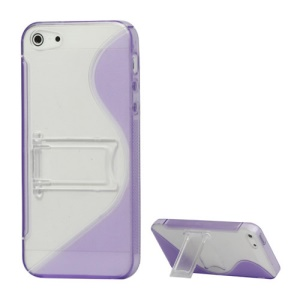 S-Curve TPU & Plastic Hybrid Case Cover with Stand for iPhone 5 - Purple