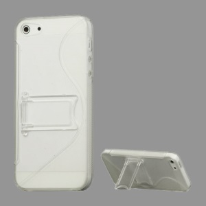 S-Curve TPU & Plastic Hybrid Case Cover with Stand for iPhone 5 - Transparent