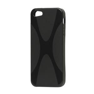 X Shape For iPhone 5 TPU Gel Cover Case - Black