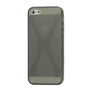 X Shape For iPhone 5 TPU Gel Cover Case - Grey