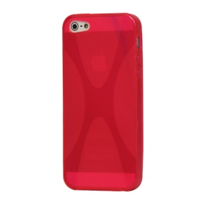 X Shape For iPhone 5 TPU Gel Cover Case - Red