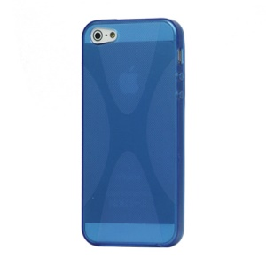 X Shape For iPhone 5 TPU Gel Cover Case - Blue