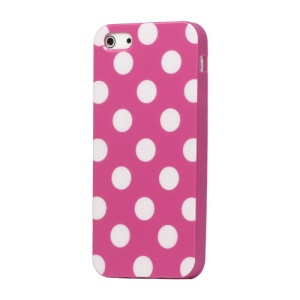 Polka Dot TPU Gel Case for iPhone 5 - Rose