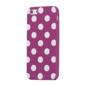 Polka Dot TPU Gel Case for iPhone 5 - Purple