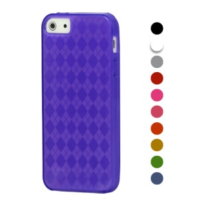 Stylish Grid TPU Gel Case Cover for iPhone 5 5s;Red