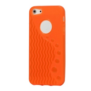 Anti-slip Ripple TPU Case Cover for iPhone 5 - Orange