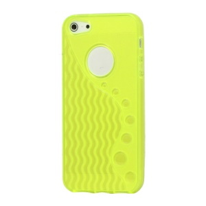 Anti-slip Ripple TPU Case Cover for iPhone 5 - Yellow