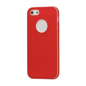 White-rimmed Frosted Gel TPU Case Cover for iPhone 5 - Red