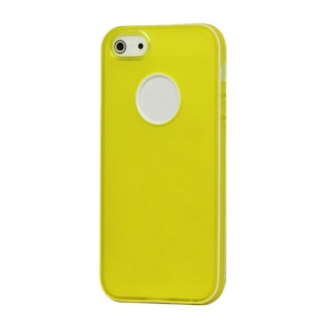 White-rimmed Frosted Gel TPU Case Cover for iPhone 5 - Yellow