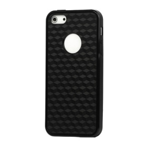 Cube Square TPU Cover Case for iPhone 5 - Black