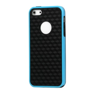 Cube Square TPU Cover Case for iPhone 5 - Blue