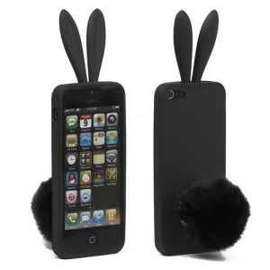 Cute Rabbit Ears TPU Case with Velvet Stand for iPhone 5 - Black