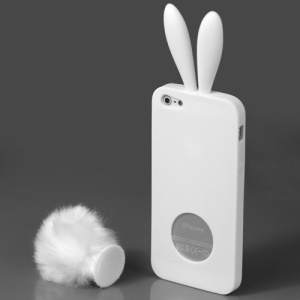 Cute Rabbit Ears For iPhone 5 TPU Case with Velvet Stand - White