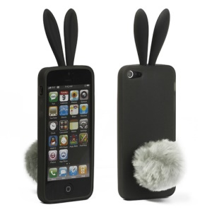 Cute Rabbit Ears Gel TPU Case with Velvet Stand for iPhone 5 - Grey
