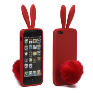 Cute Rabbit Ears TPU Case Cover with Velvet Stand for iPhone 5 - Red