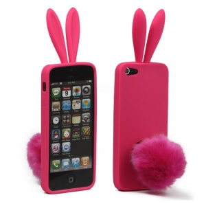 Cute Rabbit Ears Gel TPU Case with Velvet Stand for iPhone 5 - Rose