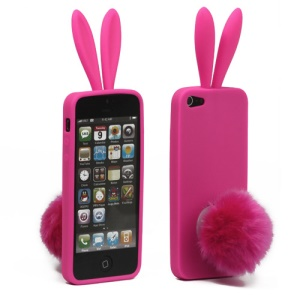 Cute Rabbit Ears For iPhone 5 TPU Gel Case with Velvet Stand -  Pink Hot