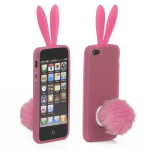 Cute Rabbit Ears For iPhone 5 TPU Gel Case with Velvet Stand - Pink