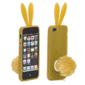 Cute Rabbit Ears Gel TPU Case with Velvet Stand for iPhone 5 - Yellow